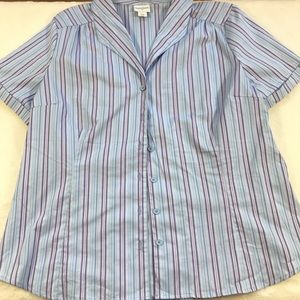 3/$15 Jacklyn Smith Blue & Purple Button Down top